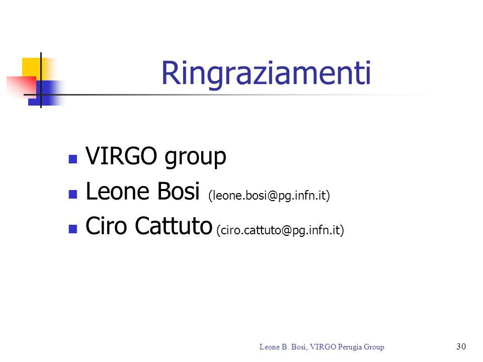 30 Leone B. Bosi, VIRGO Perugia Group Ringraziamenti VIRGO group Leone Bosi (leone.bosi@pg.infn.it) Ciro Cattuto (ciro.cattuto@pg.infn.it)
