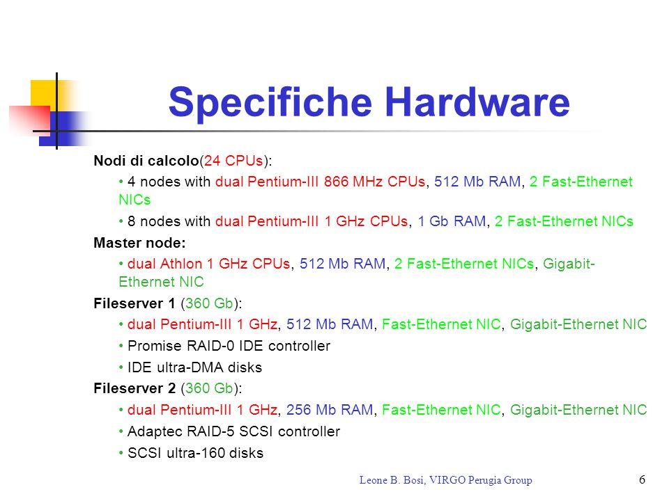 6 Leone B. Bosi, VIRGO Perugia Group Specifiche Hardware Nodi di calcolo(24 CPUs): 4 nodes with dual Pentium-III 866 MHz CPUs, 512 Mb RAM, 2 Fast-Ethe