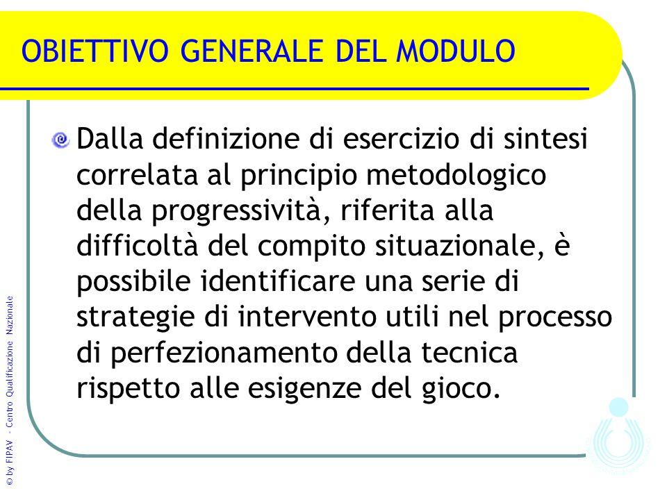 © by FIPAV - Centro Qualificazione Nazionale OBIETTIVO GENERALE DEL MODULO Dalla definizione di esercizio di sintesi correlata al principio metodologi