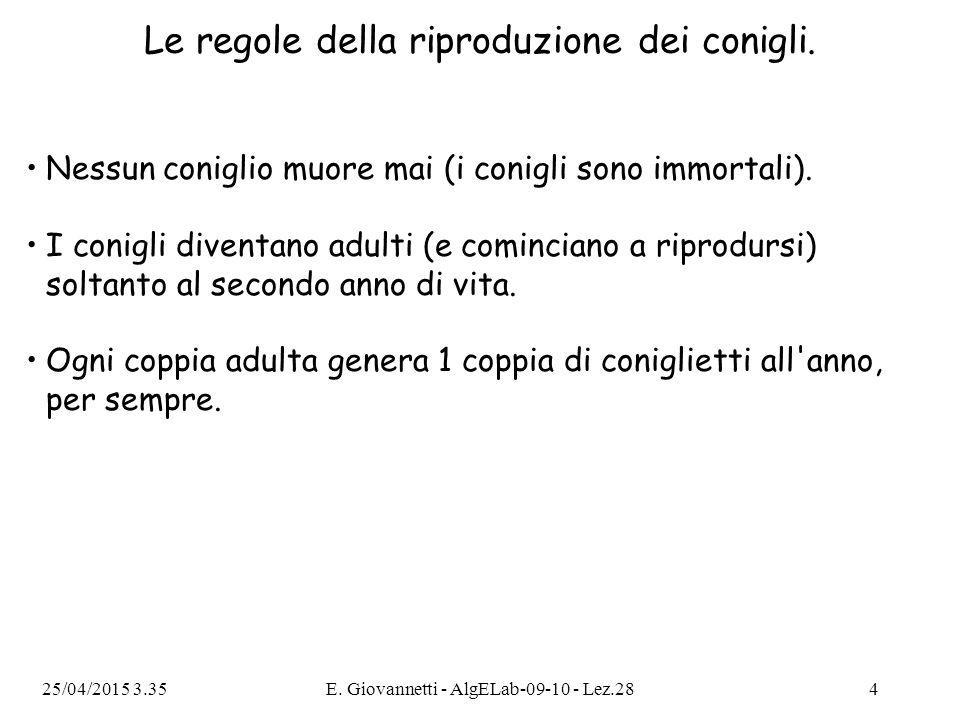 25/04/2015 3.36E. Giovannetti - AlgELab-09-10 - Lez.284 Le regole della riproduzione dei conigli.