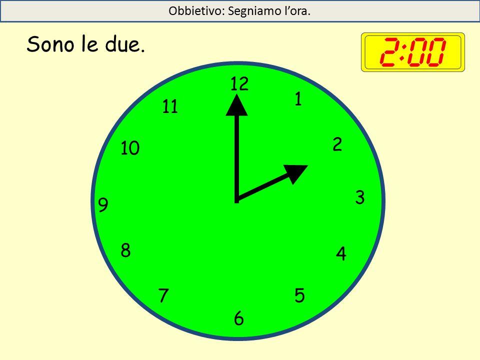 Sono le due. 12 1 5 4 9 3 6 10 11 2 7 8 Obbietivo: Segniamo l'ora.