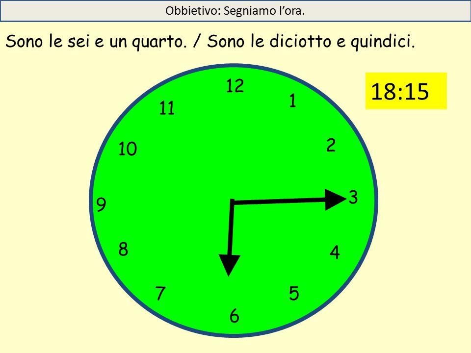12 1 5 4 9 3 6 10 11 2 7 8 Sono le sei e un quarto.