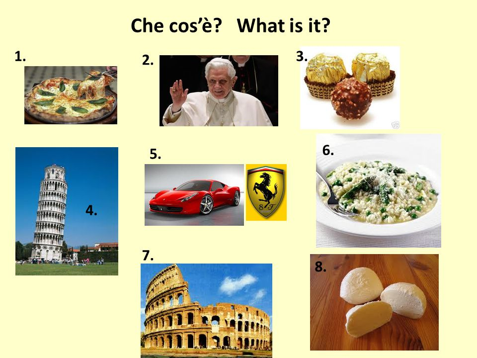 Che cos'è? What is it? 1. 2. 3. 4. 5. 6. 7. 8.