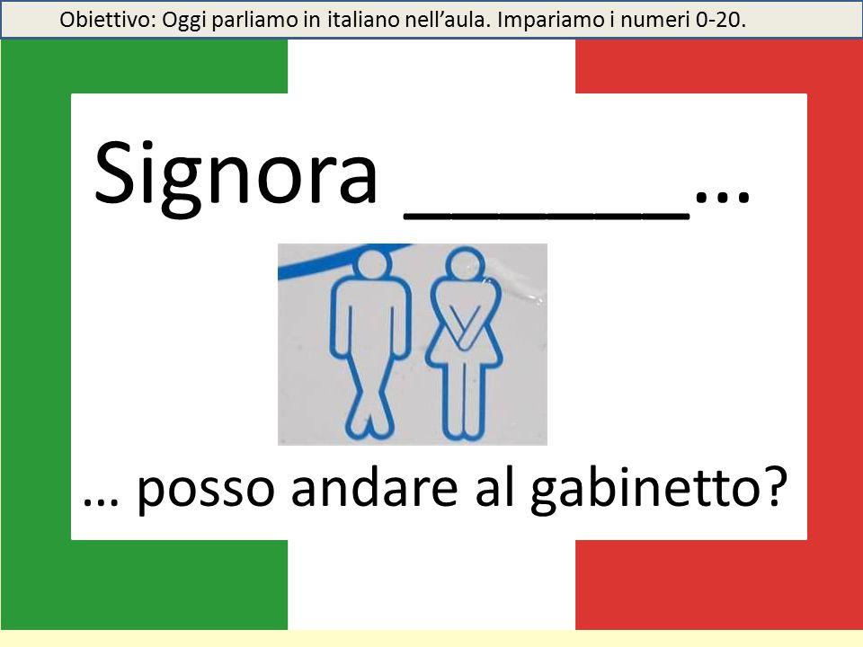 Signora ______… … posso andare al gabinetto.Obiettivo: Oggi parliamo in italiano nell'aula.