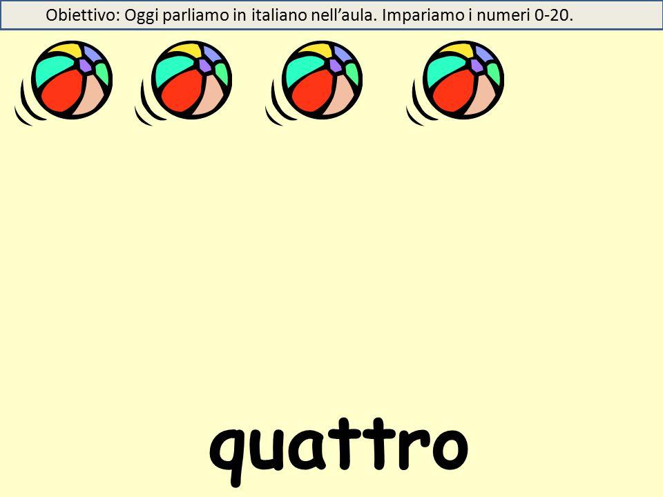 quattro Obiettivo: Oggi parliamo in italiano nell'aula. Impariamo i numeri 0-20.
