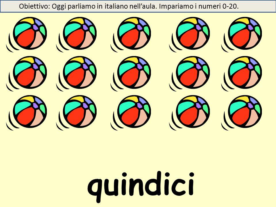 quindici Obiettivo: Oggi parliamo in italiano nell'aula. Impariamo i numeri 0-20.