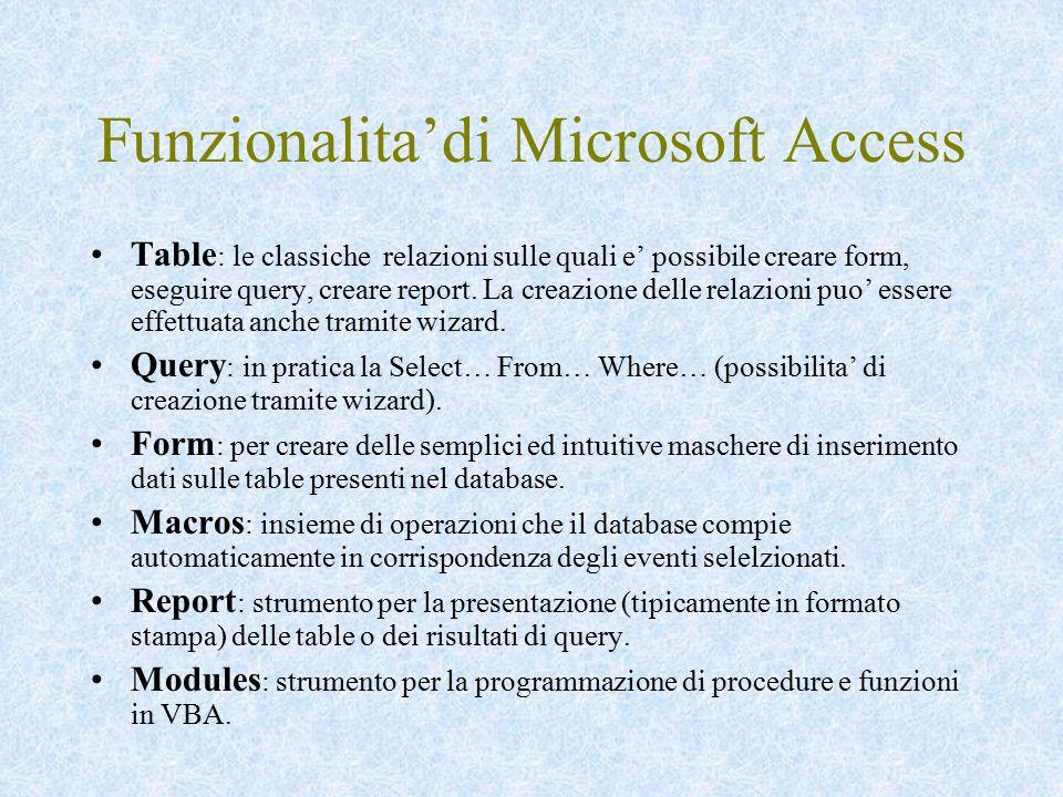 Funzionalita'di Microsoft Access Table : le classiche relazioni sulle quali e' possibile creare form, eseguire query, creare report. La creazione dell