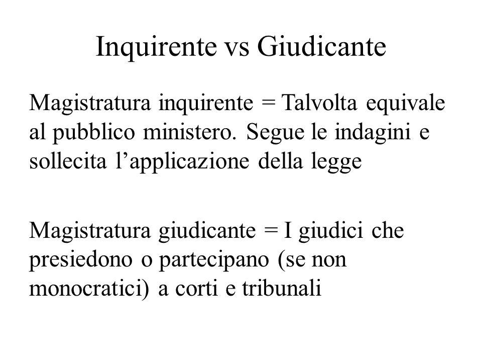 Inquirente vs Giudicante Magistratura inquirente = Talvolta equivale al pubblico ministero. Segue le indagini e sollecita l'applicazione della legge M