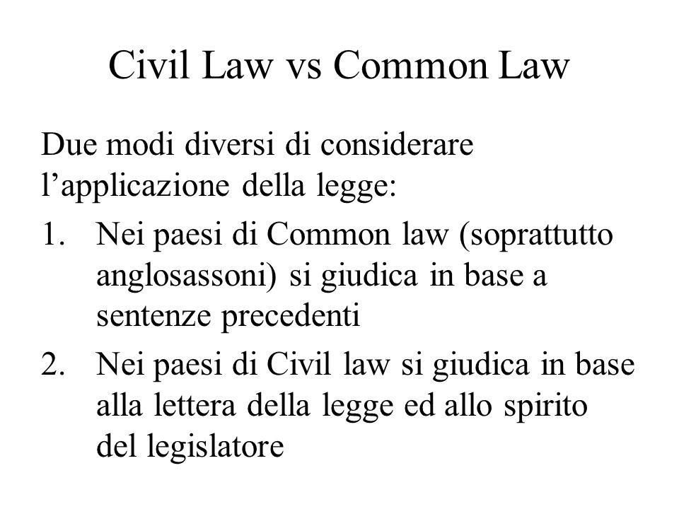 Civil Law vs Common Law Due modi diversi di considerare l'applicazione della legge: 1.Nei paesi di Common law (soprattutto anglosassoni) si giudica in