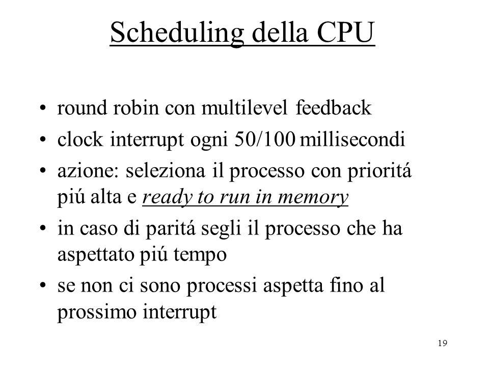 19 Scheduling della CPU round robin con multilevel feedback clock interrupt ogni 50/100 millisecondi azione: seleziona il processo con prioritá piú alta e ready to run in memory in caso di paritá segli il processo che ha aspettato piú tempo se non ci sono processi aspetta fino al prossimo interrupt