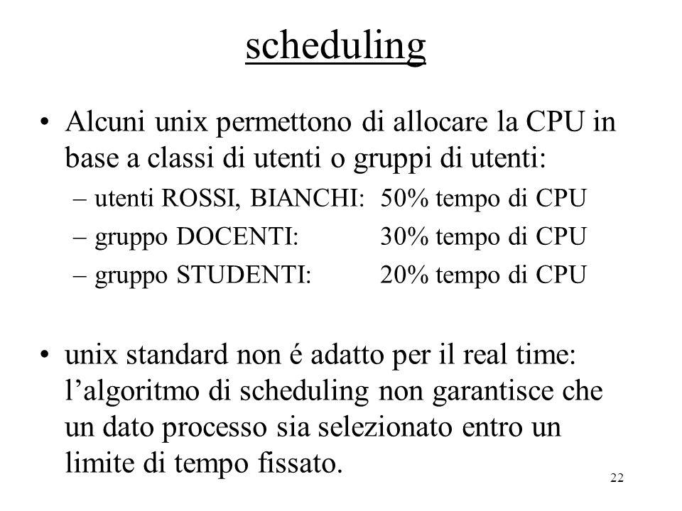 22 scheduling Alcuni unix permettono di allocare la CPU in base a classi di utenti o gruppi di utenti: –utenti ROSSI, BIANCHI:50% tempo di CPU –gruppo DOCENTI:30% tempo di CPU –gruppo STUDENTI:20% tempo di CPU unix standard non é adatto per il real time: l'algoritmo di scheduling non garantisce che un dato processo sia selezionato entro un limite di tempo fissato.