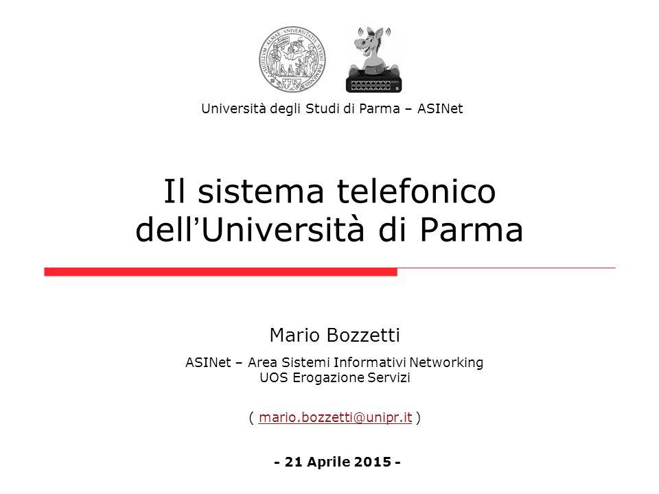 Il sistema telefonico dell ' Università di Parma Mario Bozzetti ASINet – Area Sistemi Informativi Networking UOS Erogazione Servizi ( mario.bozzetti@u