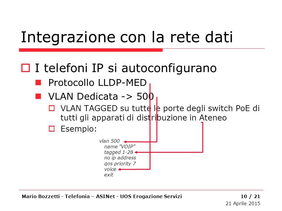 Integrazione con la rete dati  I telefoni IP si autoconfigurano Protocollo LLDP-MED VLAN Dedicata -> 500  VLAN TAGGED su tutte le porte degli switch
