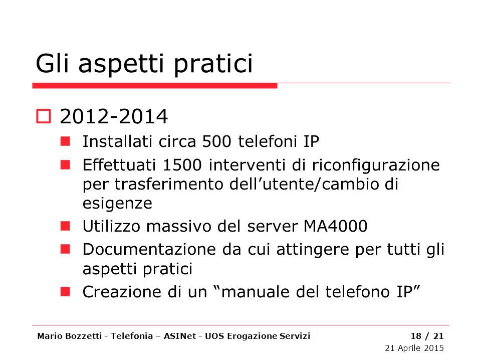 Gli aspetti pratici  2012-2014 Installati circa 500 telefoni IP Effettuati 1500 interventi di riconfigurazione per trasferimento dell'utente/cambio d