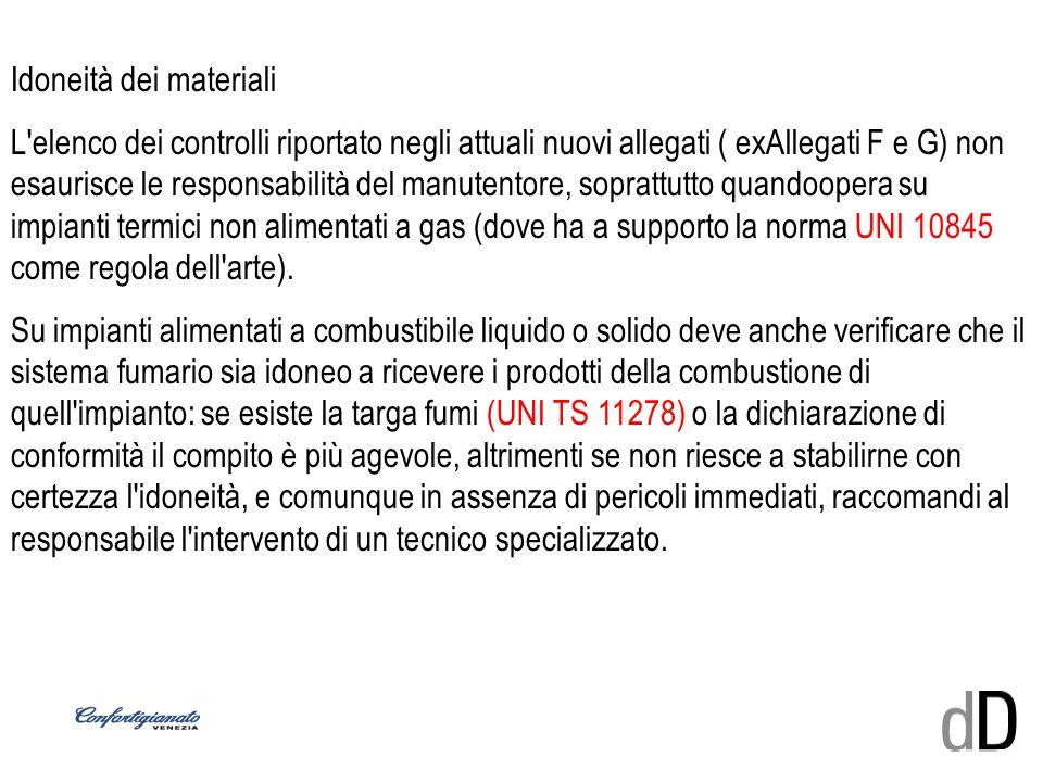 Idoneità dei materiali L'elenco dei controlli riportato negli attuali nuovi allegati ( exAllegati F e G) non esaurisce le responsabilità del manutento