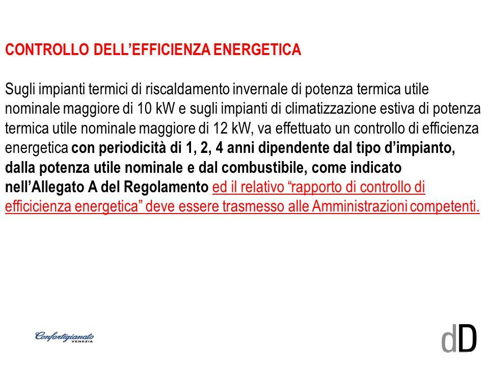CONTROLLO DELL'EFFICIENZA ENERGETICA Sugli impianti termici di riscaldamento invernale di potenza termica utile nominale maggiore di 10 kW e sugli imp
