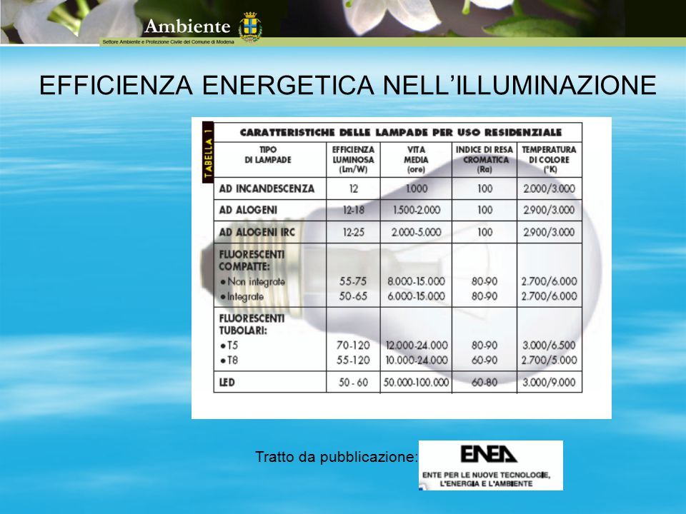 EFFICIENZA ENERGETICA NELL'ILLUMINAZIONE Tratto da pubblicazione: