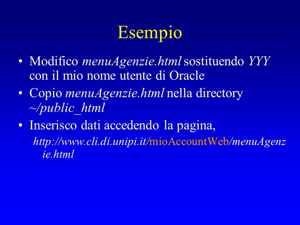 Esempio Modifico menuAgenzie.html sostituendo YYY con il mio nome utente di Oracle Copio menuAgenzie.html nella directory ~/public_html Inserisco dati accedendo la pagina, http://www.cli.di.unipi.it/mioAccountWeb/menuAgenz ie.html