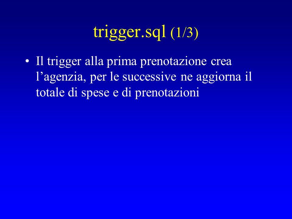 trigger.sql (1/3) Il trigger alla prima prenotazione crea l'agenzia, per le successive ne aggiorna il totale di spese e di prenotazioni