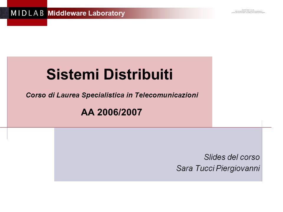 Middleware Laboratory Sistemi Distribuiti Corso di Laurea Specialistica in Telecomunicazioni AA 2006/2007 Slides del corso Sara Tucci Piergiovanni
