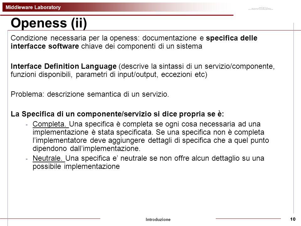 Middleware Laboratory Introduzione10 Openess (ii) Condizione necessaria per la openess: documentazione e specifica delle interfacce software chiave dei componenti di un sistema Interface Definition Language (descrive la sintassi di un servizio/componente, funzioni disponibili, parametri di input/output, eccezioni etc) Problema: descrizione semantica di un servizio.