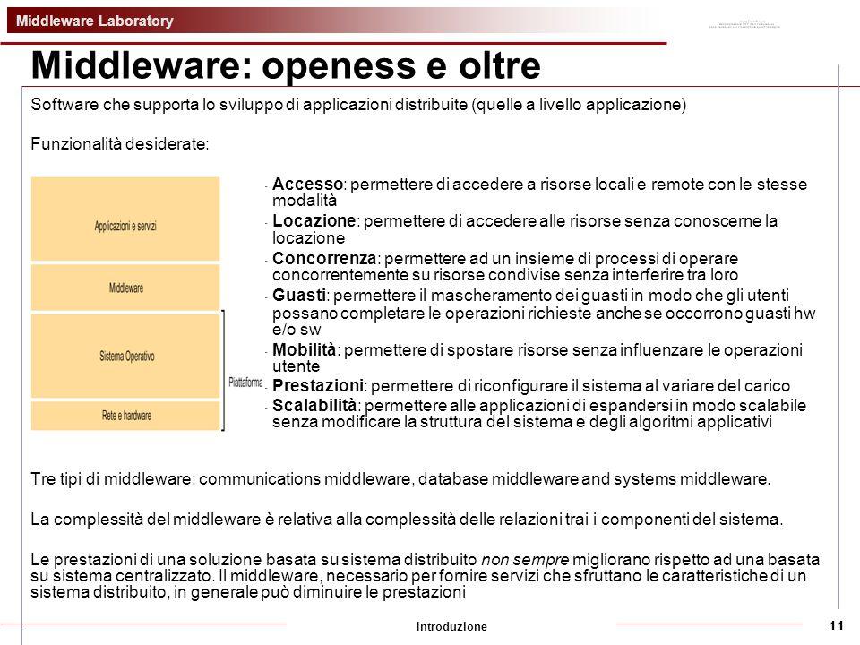 Middleware Laboratory Introduzione11 Middleware: openess e oltre Software che supporta lo sviluppo di applicazioni distribuite (quelle a livello applicazione) Funzionalità desiderate: - Accesso: permettere di accedere a risorse locali e remote con le stesse modalità - Locazione: permettere di accedere alle risorse senza conoscerne la locazione - Concorrenza: permettere ad un insieme di processi di operare concorrentemente su risorse condivise senza interferire tra loro - Guasti: permettere il mascheramento dei guasti in modo che gli utenti possano completare le operazioni richieste anche se occorrono guasti hw e/o sw - Mobilità: permettere di spostare risorse senza influenzare le operazioni utente - Prestazioni: permettere di riconfigurare il sistema al variare del carico - Scalabilità: permettere alle applicazioni di espandersi in modo scalabile senza modificare la struttura del sistema e degli algoritmi applicativi Tre tipi di middleware: communications middleware, database middleware and systems middleware.