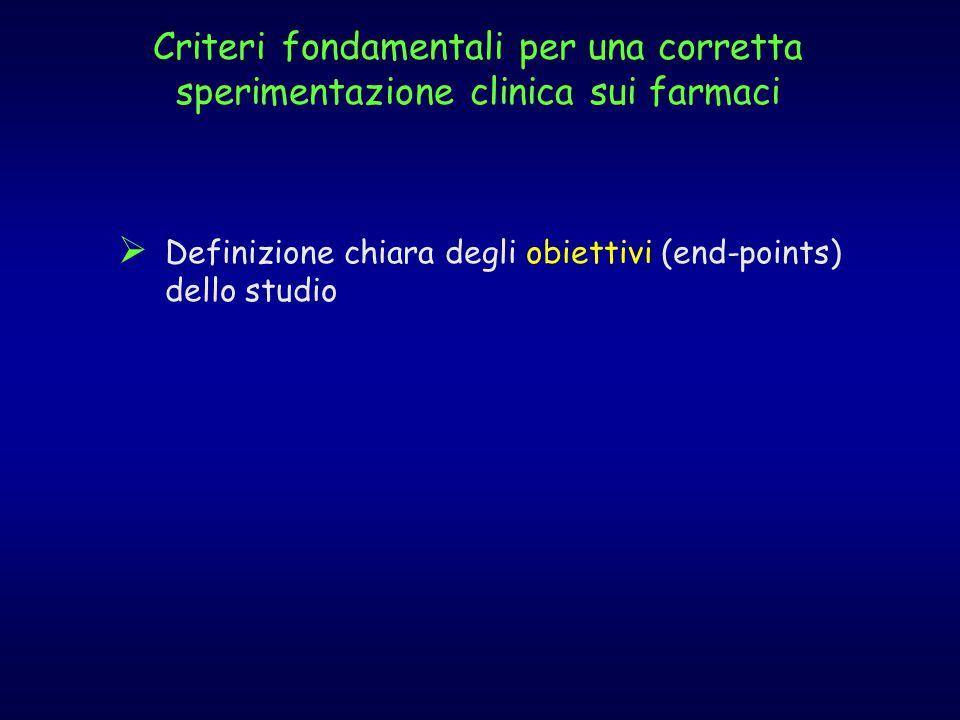 Criteri fondamentali per una corretta sperimentazione clinica sui farmaci  Definizione chiara degli obiettivi (end-points) dello studio