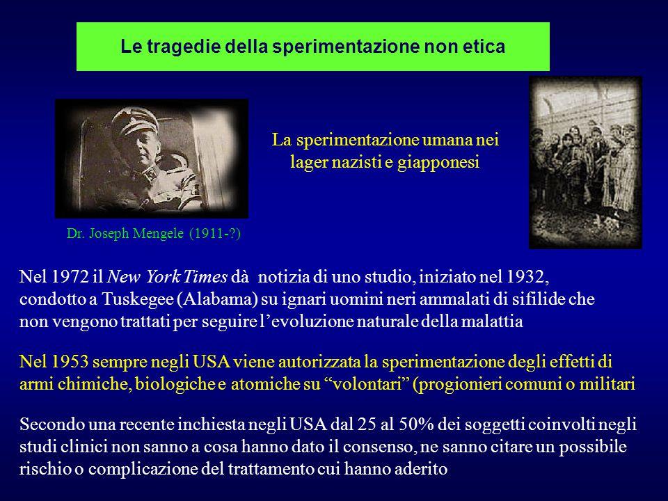 Le tragedie della sperimentazione non etica La sperimentazione umana nei lager nazisti e giapponesi Nel 1972 il New York Times dà notizia di uno studi