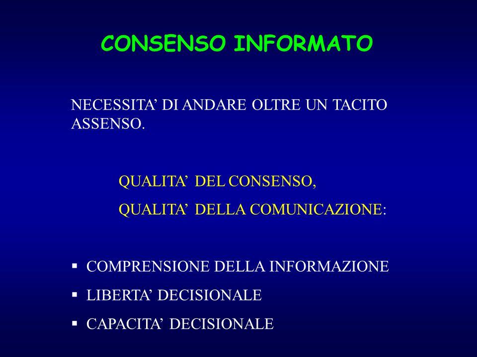 CONSENSO INFORMATO NECESSITA' DI ANDARE OLTRE UN TACITO ASSENSO. QUALITA' DEL CONSENSO, QUALITA' DELLA COMUNICAZIONE:  COMPRENSIONE DELLA INFORMAZION