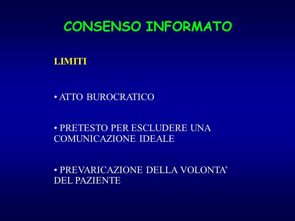 CONSENSO INFORMATO LIMITI ATTO BUROCRATICO PRETESTO PER ESCLUDERE UNA COMUNICAZIONE IDEALE PREVARICAZIONE DELLA VOLONTA' DEL PAZIENTE