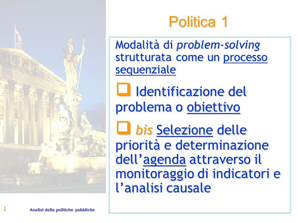 Analisi delle politiche pubbliche 1 Politica 1 Modalità di problem-solving strutturata come un processo sequenziale q Identificazione del problema o obiettivo q bis Selezione delle priorità e determinazione dell'agenda attraverso il monitoraggio di indicatori e l'analisi causale