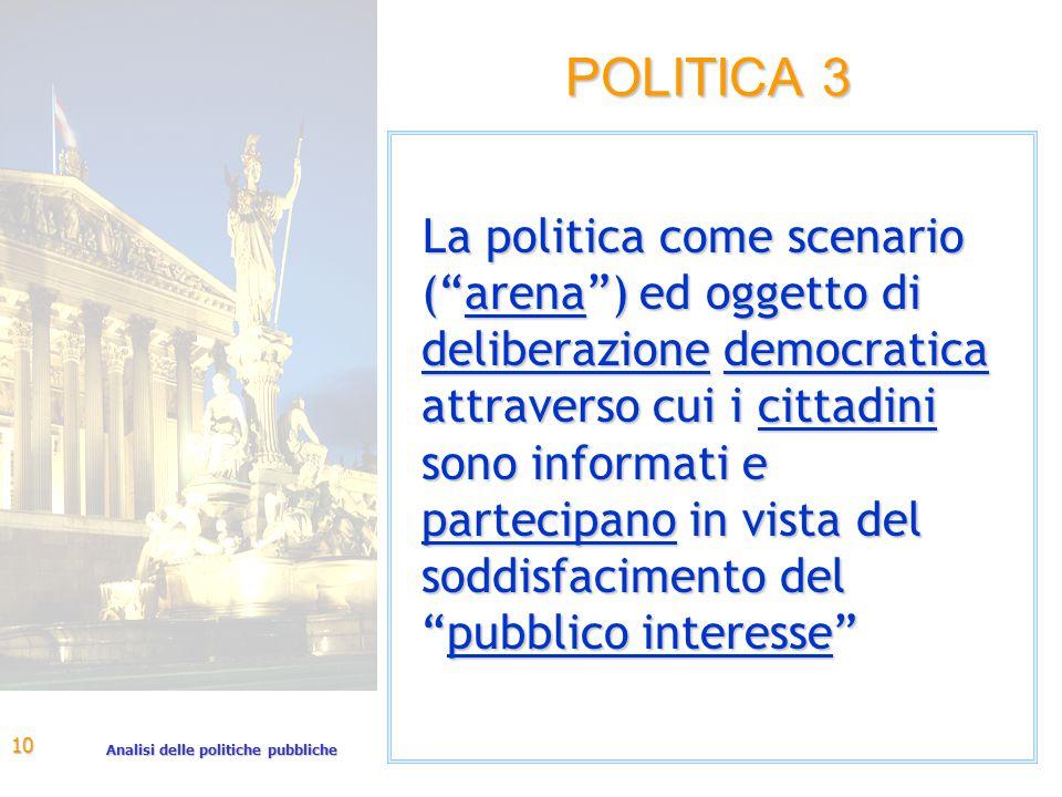 Analisi delle politiche pubbliche 10 POLITICA 3 La politica come scenario ( arena ) ed oggetto di deliberazione democratica attraverso cui i cittadini sono informati e partecipano in vista del soddisfacimento del pubblico interesse