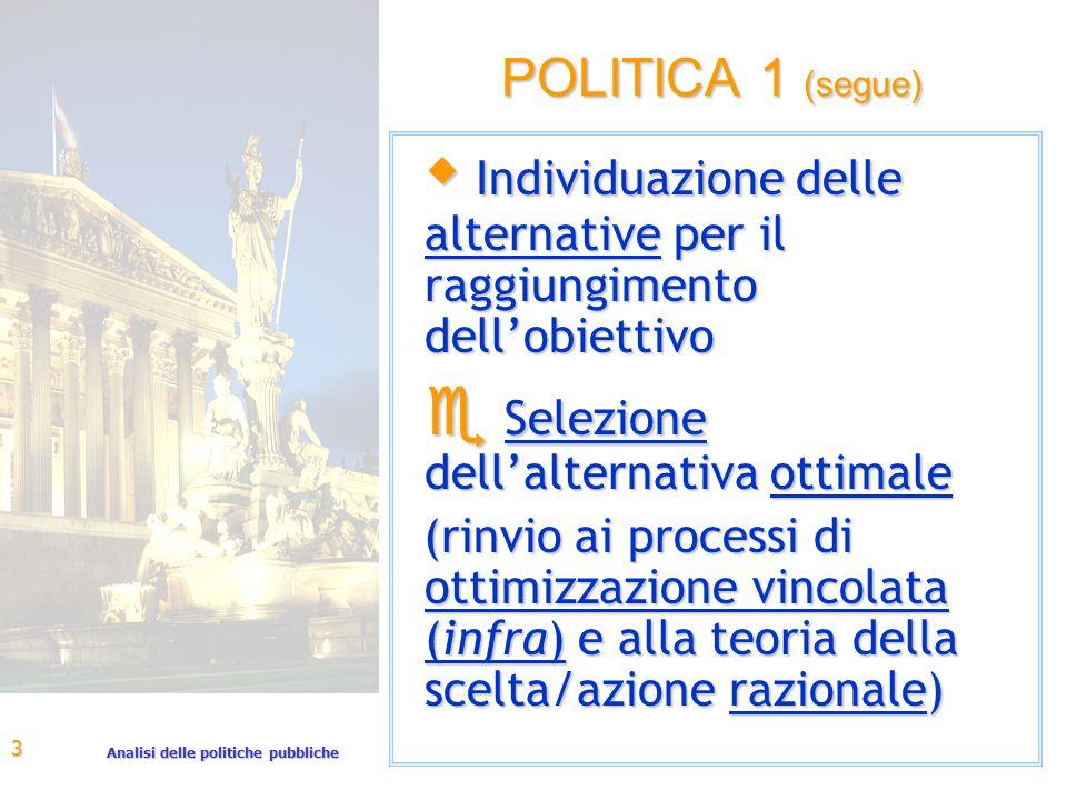 Analisi delle politiche pubbliche 3 POLITICA 1 (segue) w Individuazione delle alternative per il raggiungimento dell'obiettivo e Selezione dell'alternativa ottimale (rinvio ai processi di ottimizzazione vincolata (infra) e alla teoria della scelta/azione razionale)