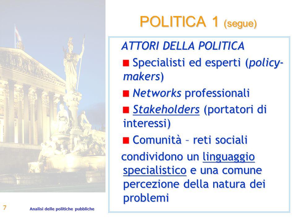 Analisi delle politiche pubbliche 7 POLITICA 1 (segue) ATTORI DELLA POLITICA Specialisti ed esperti (policy- makers) Specialisti ed esperti (policy- m