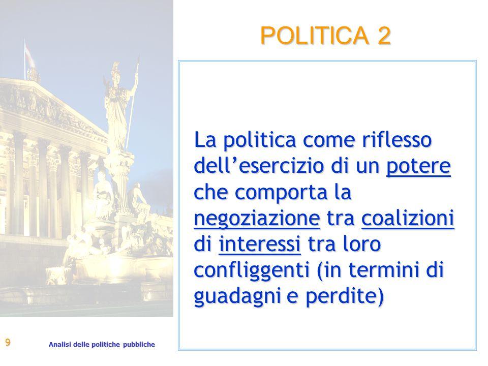Analisi delle politiche pubbliche 9 POLITICA 2 La politica come riflesso dell'esercizio di un potere che comporta la negoziazione tra coalizioni di interessi tra loro confliggenti (in termini di guadagni e perdite)