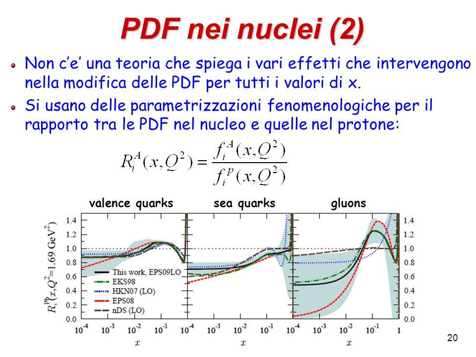 20 Non c'e' una teoria che spiega i vari effetti che intervengono nella modifica delle PDF per tutti i valori di x. Si usano delle parametrizzazioni f