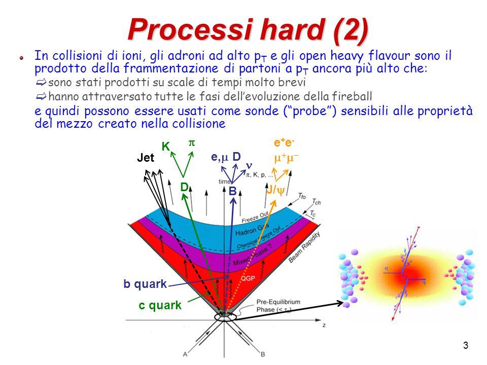 3 Processi hard (2) In collisioni di ioni, gli adroni ad alto p T e gli open heavy flavour sono il prodotto della frammentazione di partoni a p T ancora più alto che:  sono stati prodotti su scale di tempi molto brevi  hanno attraversato tutte le fasi dell'evoluzione della fireball e quindi possono essere usati come sonde ( probe ) sensibili alle proprietà del mezzo creato nella collisione D K  B e,  D J/  c quark b quark e+e-e+e- Jet