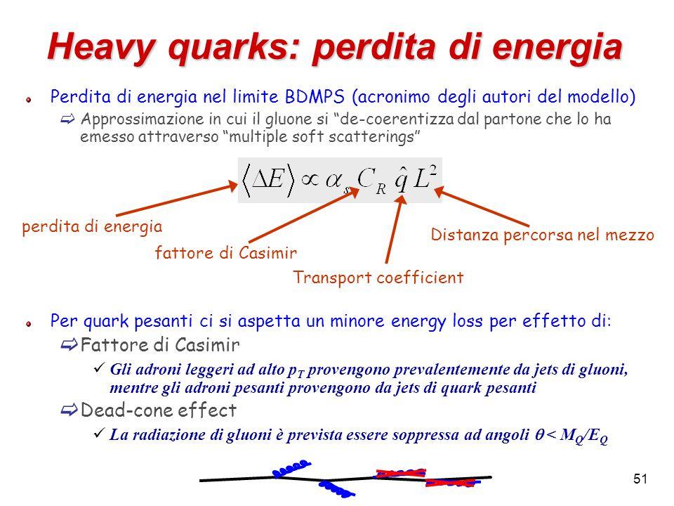 51 Heavy quarks: perdita di energia Perdita di energia nel limite BDMPS (acronimo degli autori del modello)  Approssimazione in cui il gluone si de-coerentizza dal partone che lo ha emesso attraverso multiple soft scatterings Per quark pesanti ci si aspetta un minore energy loss per effetto di:  Fattore di Casimir Gli adroni leggeri ad alto p T provengono prevalentemente da jets di gluoni, mentre gli adroni pesanti provengono da jets di quark pesanti  Dead-cone effect La radiazione di gluoni è prevista essere soppressa ad angoli  < M Q /E Q fattore di Casimir Transport coefficient perdita di energia Distanza percorsa nel mezzo