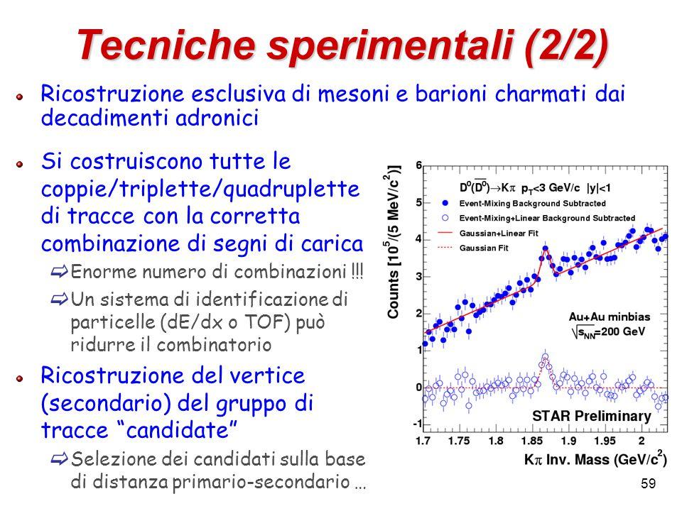 59 Tecniche sperimentali (2/2) Ricostruzione esclusiva di mesoni e barioni charmati dai decadimenti adronici Si costruiscono tutte le coppie/triplette