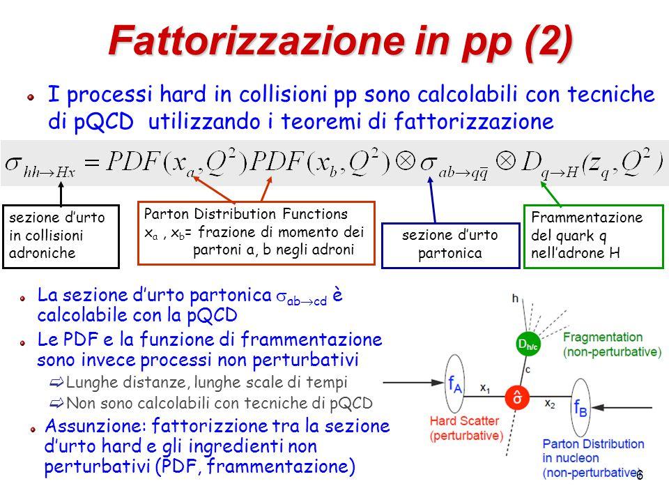 6 I processi hard in collisioni pp sono calcolabili con tecniche di pQCD utilizzando i teoremi di fattorizzazione Fattorizzazione in pp (2) sezione d'urto partonica Parton Distribution Functions x a, x b = frazione di momento dei partoni a, b negli adroni Frammentazione del quark q nell'adrone H sezione d'urto in collisioni adroniche La sezione d'urto partonica  ab  cd è calcolabile con la pQCD Le PDF e la funzione di frammentazione sono invece processi non perturbativi  Lunghe distanze, lunghe scale di tempi  Non sono calcolabili con tecniche di pQCD Assunzione: fattorizzione tra la sezione d'urto hard e gli ingredienti non perturbativi (PDF, frammentazione)