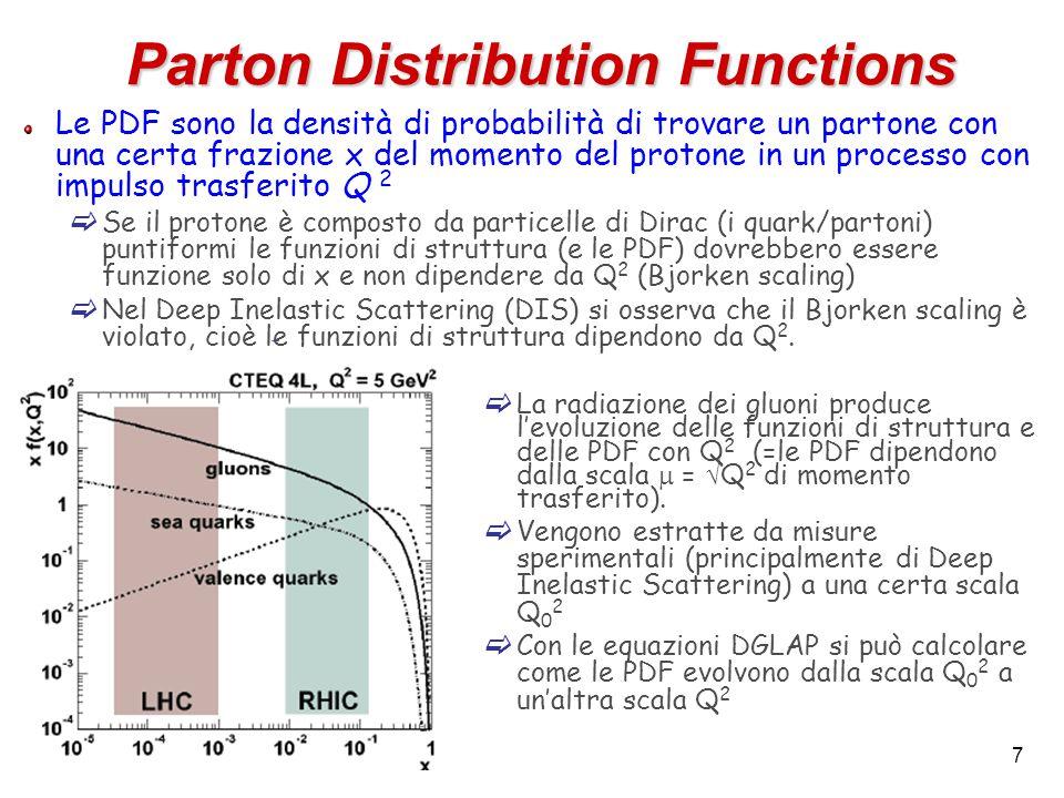 7 Le PDF sono la densità di probabilità di trovare un partone con una certa frazione x del momento del protone in un processo con impulso trasferito Q 2  Se il protone è composto da particelle di Dirac (i quark/partoni) puntiformi le funzioni di struttura (e le PDF) dovrebbero essere funzione solo di x e non dipendere da Q 2 (Bjorken scaling)  Nel Deep Inelastic Scattering (DIS) si osserva che il Bjorken scaling è violato, cioè le funzioni di struttura dipendono da Q 2.