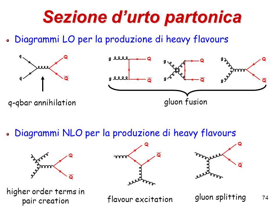 74 Diagrammi LO per la produzione di heavy flavours Diagrammi NLO per la produzione di heavy flavours Sezione d'urto partonica q q Q Q Q Q g g Q Q g g Q Q g g Q Q Q Q Q Q q-qbar annihilation gluon fusion higher order terms in pair creation flavour excitation gluon splitting