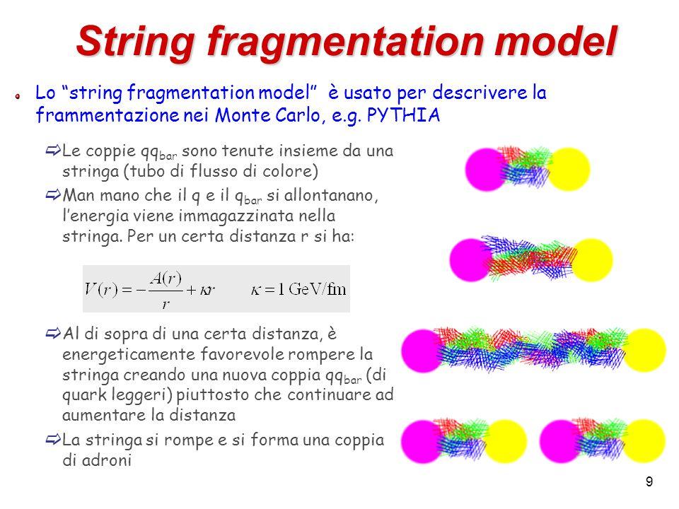"""9 Lo """"string fragmentation model"""" è usato per descrivere la frammentazione nei Monte Carlo, e.g. PYTHIA String fragmentation model  Le coppie qq bar"""
