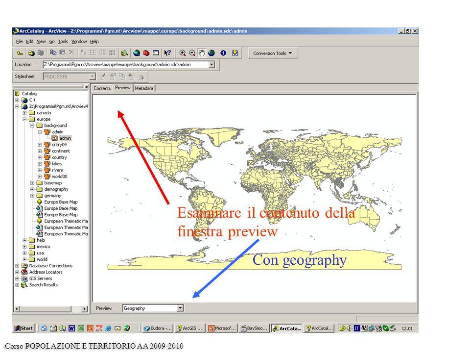 Esaminare il contenuto della finestra preview Con geography Corso POPOLAZIONE E TERRITORIO AA 2009-2010