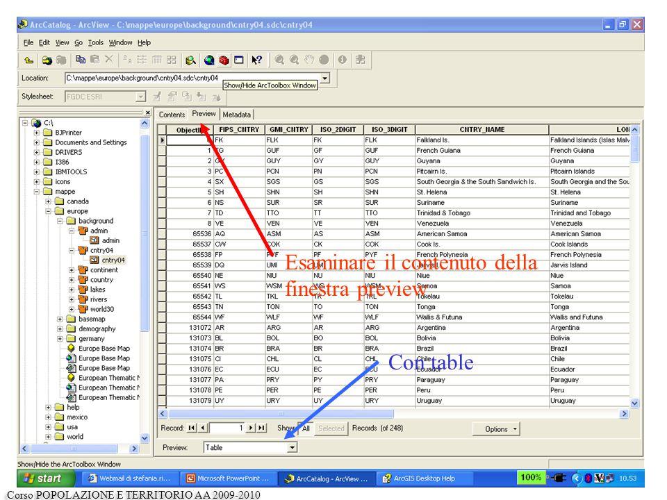 Esaminare il contenuto della finestra preview Con table Corso POPOLAZIONE E TERRITORIO AA 2009-2010