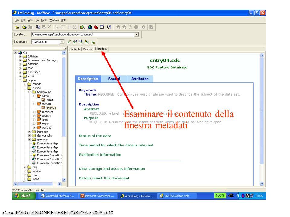 Esaminare il contenuto della finestra metadati Corso POPOLAZIONE E TERRITORIO AA 2009-2010