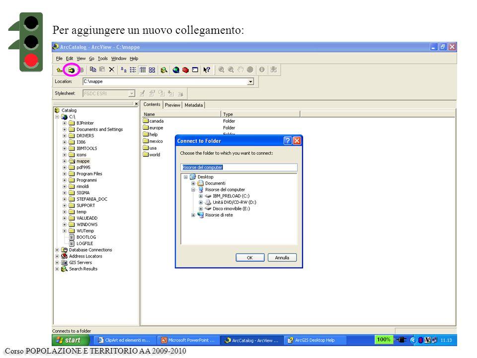 Per aggiungere un nuovo collegamento: Corso POPOLAZIONE E TERRITORIO AA 2009-2010