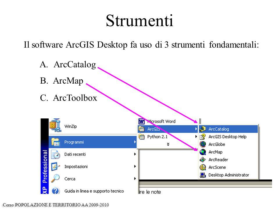 Strumenti Il software ArcGIS Desktop fa uso di 3 strumenti fondamentali: A.ArcCatalog B.