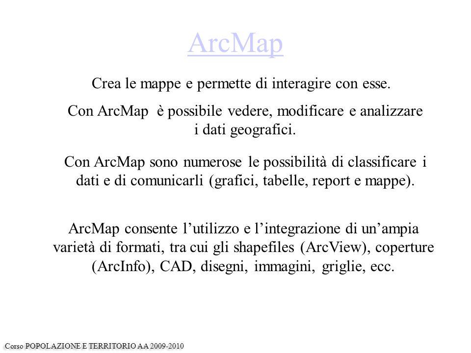 ArcMap ArcMap consente l'utilizzo e l'integrazione di un'ampia varietà di formati, tra cui gli shapefiles (ArcView), coperture (ArcInfo), CAD, disegni, immagini, griglie, ecc.