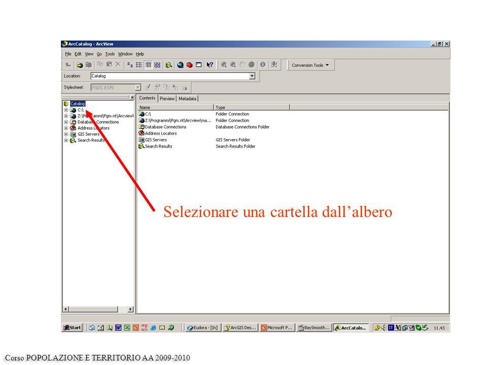 Esaminare il contenuto della finestra contents Corso POPOLAZIONE E TERRITORIO AA 2009-2010